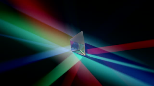 vídeos de stock e filmes b-roll de revolving prism in coloured lights, showing the reflection and refraction of the beams - equipamento de iluminação