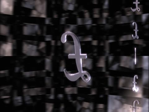 vídeos y material grabado en eventos de stock de revolving, reflecting pound symbol - símbolo de la libra esterlina
