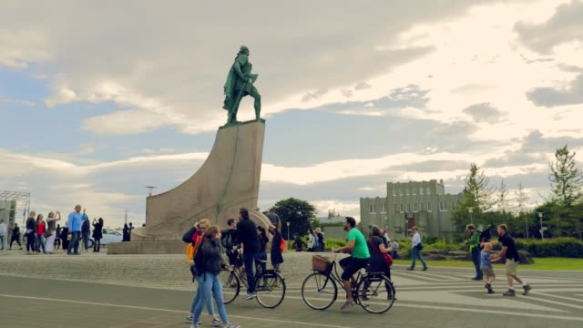 reykjavik cityscape in iceland, slow motion - reykjavik stock videos and b-roll footage