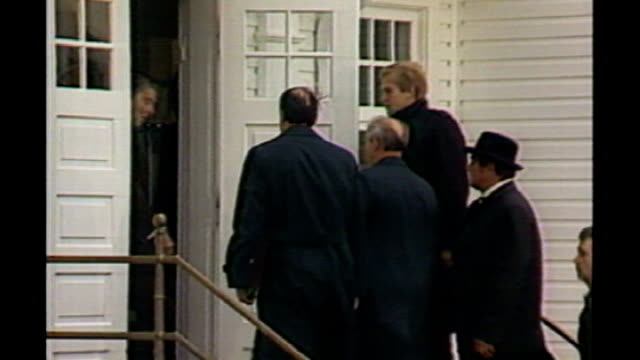 Reykjavik EXT Mikhail Gorbachev arriving and greeted by Ronald Reagan at top of steps