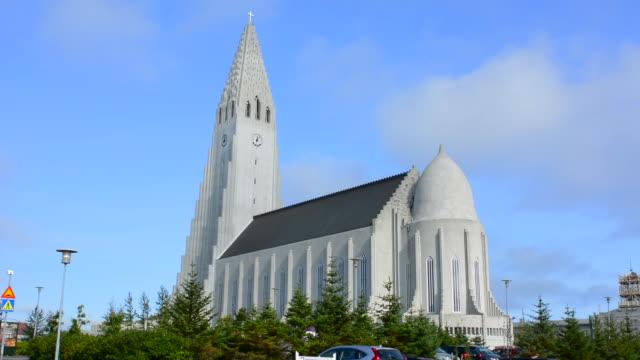 Reykjavik Iceland Arctic Hallgrimskirkja downtown tall church with steeple of Hallgrim Church