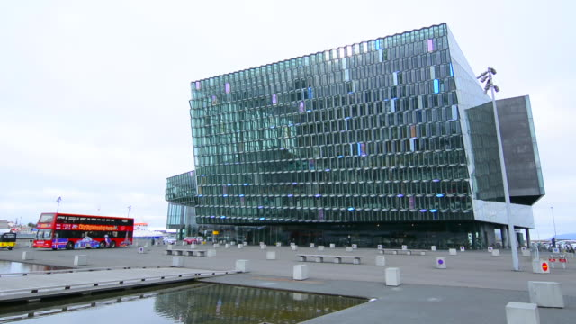 reykjavik iceland downtown harbor new opera house called the harpa concert hall opened in 2011 - reykjavik stock videos and b-roll footage