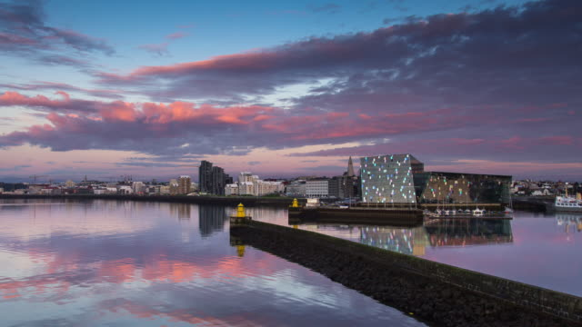 reykjavik midnight sun - timelapse - reykjavik stock videos and b-roll footage