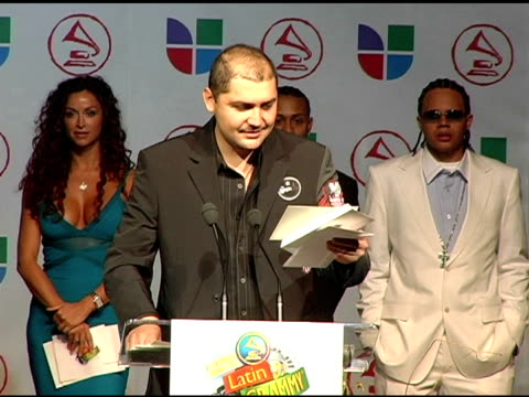 reyli announces latin grammy nominees at the 2005 latin grammy awards nominations at the music box theater in hollywood, california on august 23,... - latin grammy awards stock videos & royalty-free footage