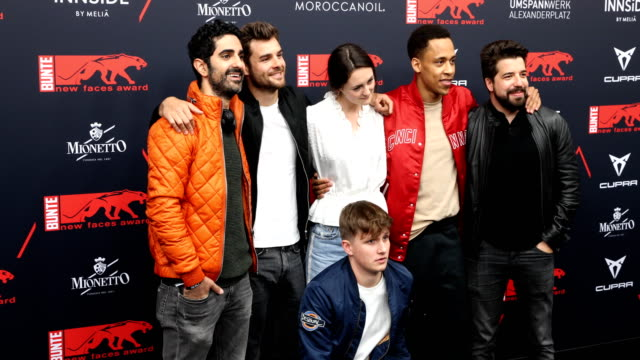 reza brojerdi , lucas reiber, lea van acken and jerry hoffmann and others at the new faces award film at umspannwerk alexanderplatz on may 2, 2019 in... - アレクサンダープラッツ点の映像素材/bロール