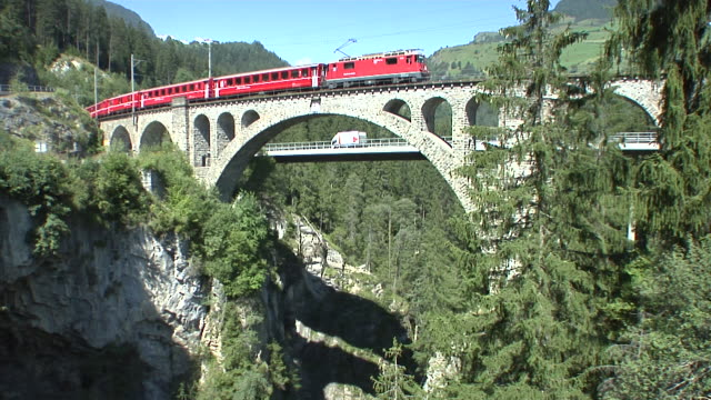 rhaetian railway / rhätische bahn - passenger train stock videos & royalty-free footage