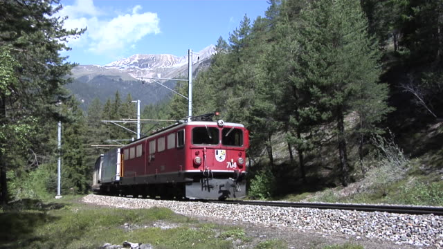 rhaetian railway train close to filisur - approaching stock videos & royalty-free footage