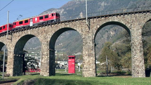 Rhaetian Railway train on the Brusio spiral viaduct