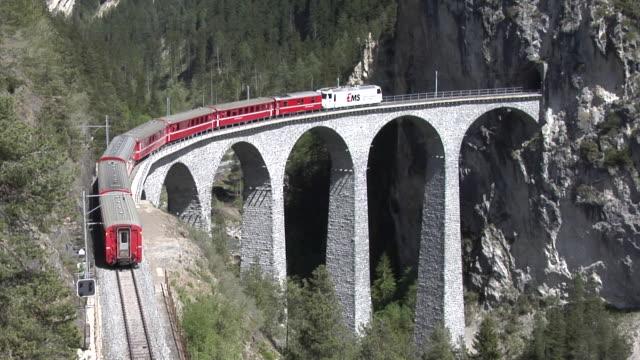 Rhaetian Railway train on the Landwasser viaduct