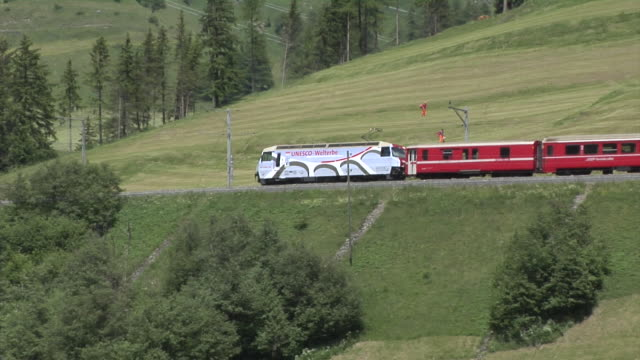 rhb train near bergün on the albula railway - passenger train stock videos & royalty-free footage