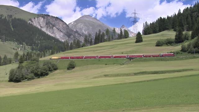 RhB train near Bergün on the Albula Railway