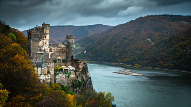 rheinstein castle and rhine valley in germany - river rhine stock videos & royalty-free footage