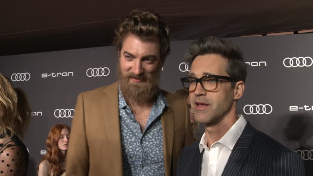 interview rhett james mclaughlin and link neal on why they wanted to celebrate emmy's with audi the three words they'd use to describe the etron why... - emmy awards stock videos & royalty-free footage