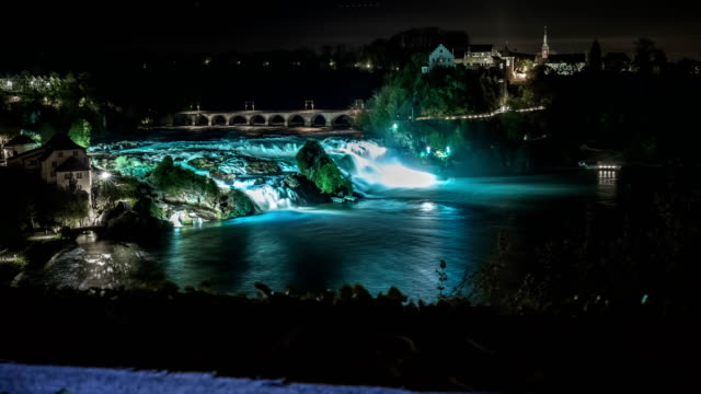 Rhine Falls Time Lapse at Night