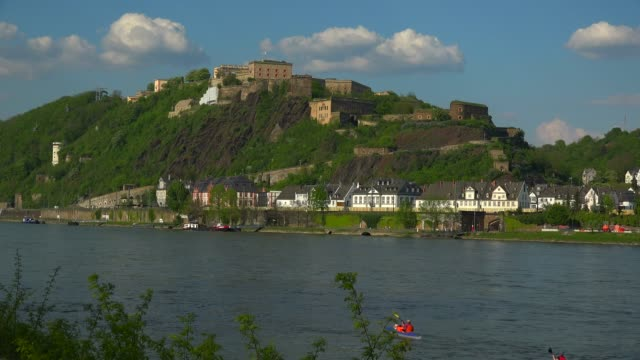rhine river and fortress ehrenbreitstein, koblenz, rhineland-palatinate, germany, europe - 19th century stock videos & royalty-free footage