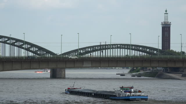 rhine river and hohenzollern bridge, cologne, north rhine westphalia, germany - barge stock videos & royalty-free footage