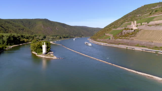 rhine river and mäuseturm at bingen - river rhine stock videos & royalty-free footage