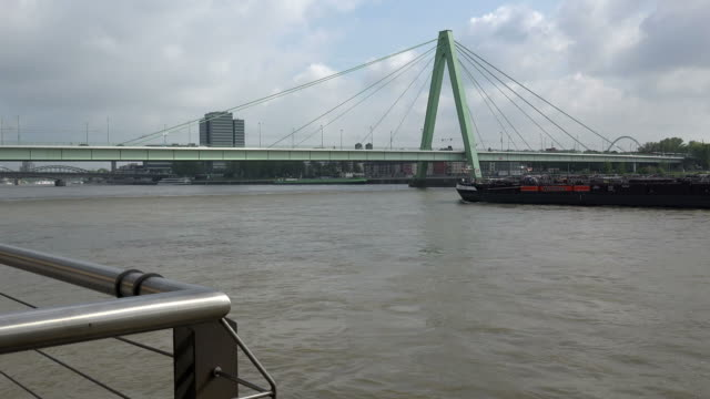 rhine river and severin bridge, cologne, north rhine westphalia, germany - barge stock videos & royalty-free footage