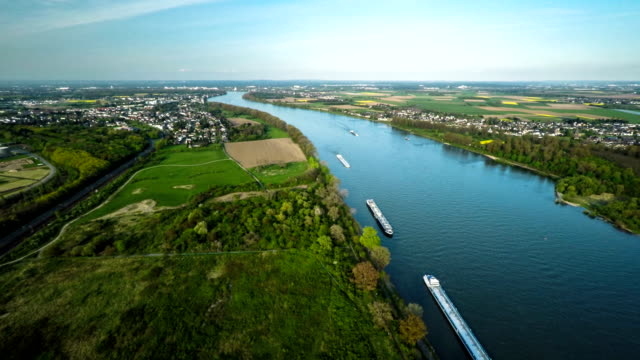 aerial: rhine river in germany - river rhine stock videos & royalty-free footage