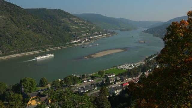 rhine river near bacharach, rhine valley, rhineland-palatinate, germany, europe - river rhine stock videos and b-roll footage