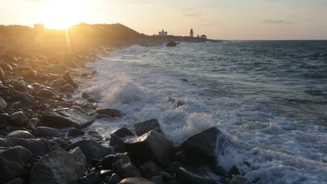 vidéos et rushes de de rhode island;: point judith lever du soleil - rhode island