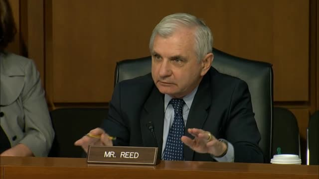 rhode island senator jack reed questions attorney general jeff sessions about his involvement with the campaign of president donald trump and his... - attorney general stock videos & royalty-free footage