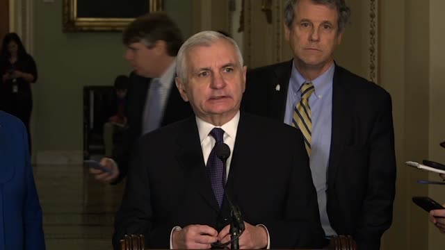 Rhode Island Senator Jack Reed says at a weekly briefing that Democrats are committed to a strong budget deal against extraordinarily dangerous...
