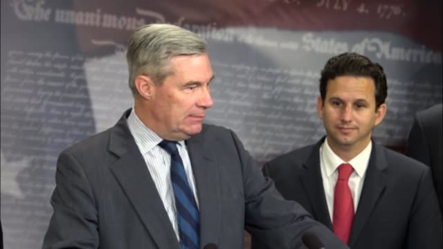 rhode island senator sheldon whitehouse joins senate democrats to urge president donald trump not to pull out of the paris climate agreement.... - paris agreement stock videos & royalty-free footage