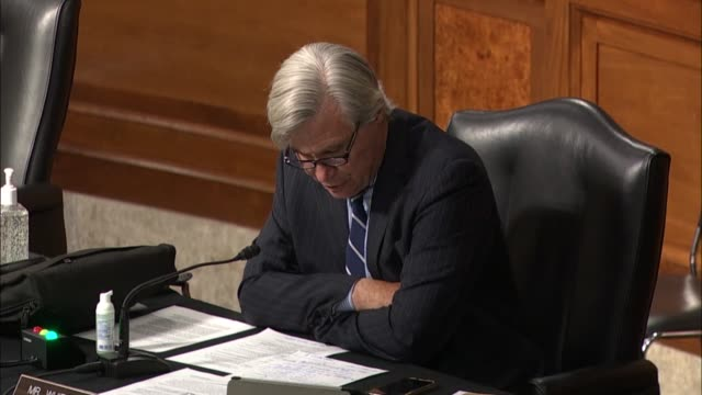 rhode island senator sheldon whitehouse says at a hearing with former deputy attorney general rod rosenstein that the incredible shrinking senate... - an answer film title stock videos & royalty-free footage