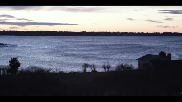 t/l ws rhode island sound at sunrise, jamestown, newport, rhode island, usa - jamestown stock-videos und b-roll-filmmaterial