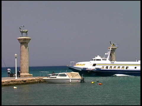 rhodes, greece hydrofoil at harbor, harbour, port entrance - animal representation stock videos & royalty-free footage