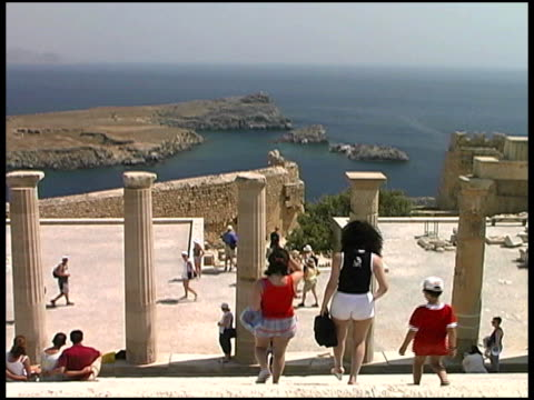 Rhodes, Greece: Tourists at Acropolis of Lindos Ruins