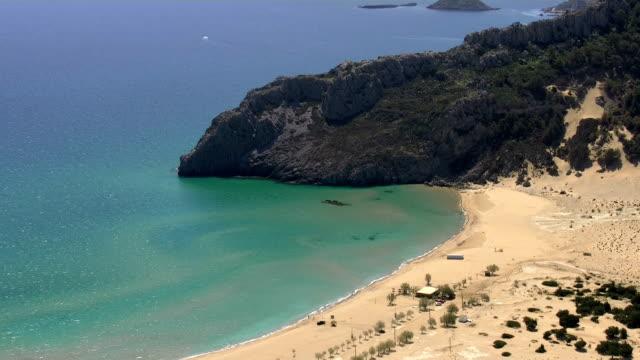 stockvideo's en b-roll-footage met rhodes island greece tsampika beach - rodos dodecanese eilanden