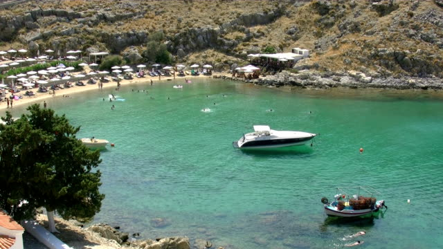 rhodes, lindos, st.pauls bay - rhodes dodecanese islands stock videos & royalty-free footage