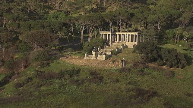 AERIAL Rhodes Memorial designed by Sir Herbert Baker at Devil's Peak slope, Cape Town, Western Cape, South Africa