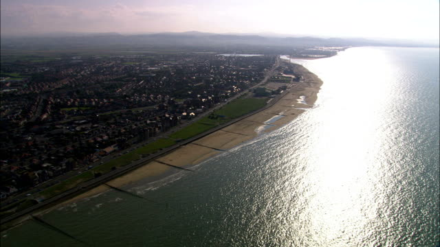rhyl  - aerial view - wales, denbighshire, rhyl, united kingdom - wales stock videos & royalty-free footage