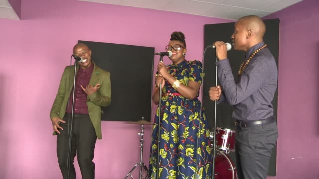 stockvideo's en b-roll-footage met rhythmic and perfectly harmonised south africas up and coming vocal trio the soil promise to be the 21st centurys answer to their countrymen... - a capella