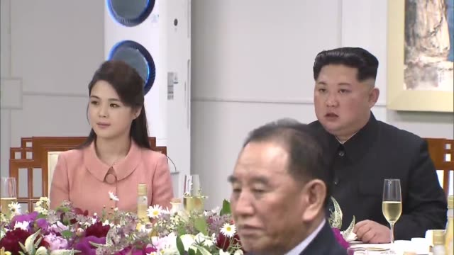 ri sol ju north korea's first lady and kim jong un north korea's leader during the interkorean summit at the peace house in the village of panmunjom... - south korea stock videos and b-roll footage