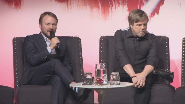 INTERVIEW Rian Johnson Mark Hamill on the diverse cast not looking forward to working with Daisy Ridley at 'Star Wars The Last Jedi' European Press...