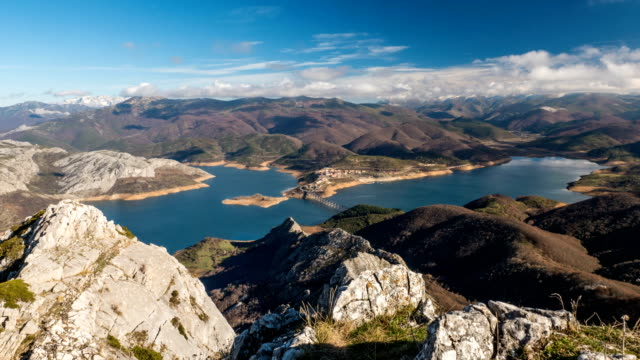 Riaño water reservoir in northern Spain timelapse.