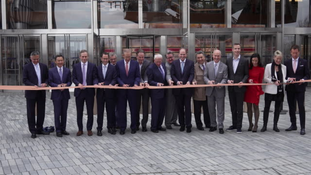 ribbon cutting at hudson yards new york's newest neighborhood official opening event at hudson yards on march 15 2019 in new york city - cut video transition stock videos & royalty-free footage