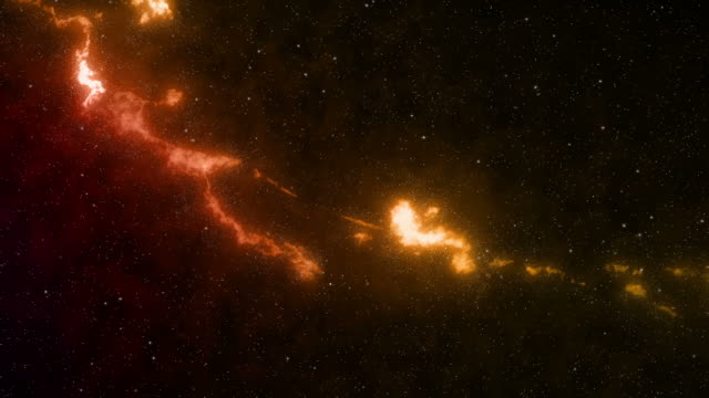 vídeos de stock, filmes e b-roll de a ribbon of fiery gases rotating slowly in outer space - artbeats