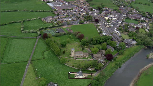 ribchester roman fort  - aerial view - england, lancashire, ribble valley district, united kingdom - lancashire stock videos & royalty-free footage