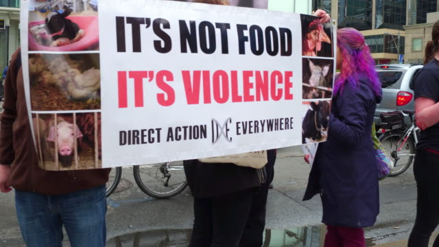 a ribfest sometimes called a rib cookoff is a traditional food festival some protesters have a blood like product on their faces for greater visual... - animal welfare stock videos and b-roll footage