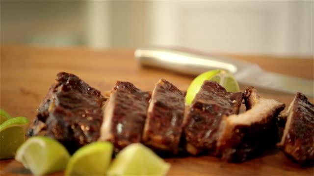 bbq ribs - rib food stock videos and b-roll footage