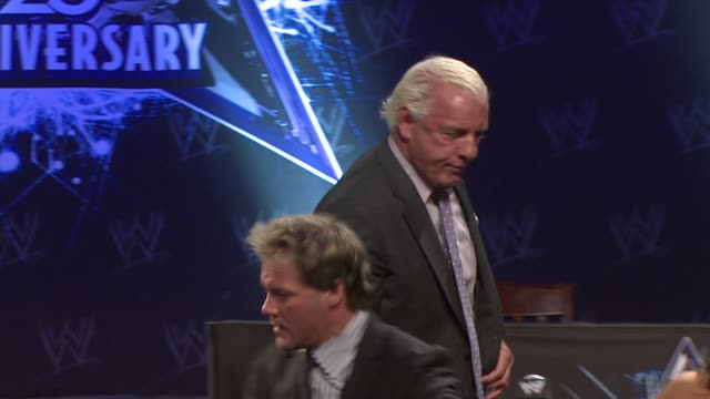 Ric 'Nature Boy' Flair and Chris Jericho at the WrestleMania 25th Anniversary Press Conference at New York NY