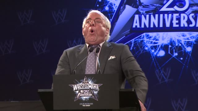 Ric 'Nature Boy' Flair challenges Chris Jericho at the WrestleMania 25th Anniversary Press Conference at New York NY