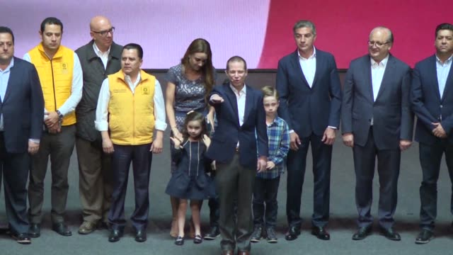 Ricardo Anaya a coalition representative from Mexico's left and right wing political parties PRD and PAN accepts his nomination as presidential...
