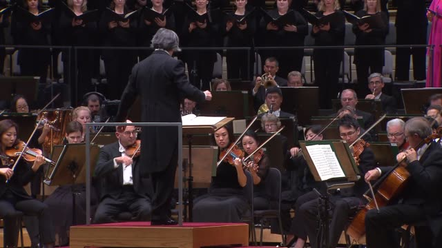 riccardo muti lead the chicago symphony orchestra cso chorus and soloists in beethoven's symphony no 9 at the seasonopening concert on sept 18 2014 - orchestra stock videos & royalty-free footage