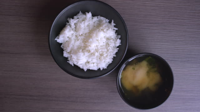 rice and soup top view - rice stock videos and b-roll footage